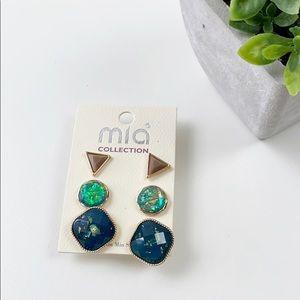 Mia Kim Min Sun 3 Set Gold Green Fashion Stud